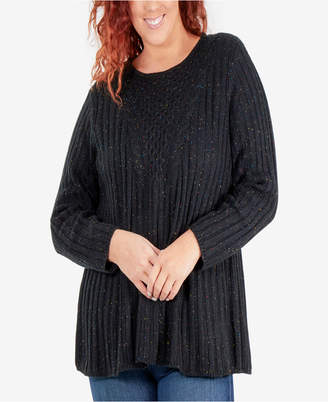 NY Collection Speckled Cable-Knit Tunic Sweater 3c27c9ffd