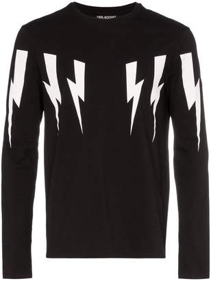Neil Barrett Multi bolt long sleeve stretch cotton T-shirt