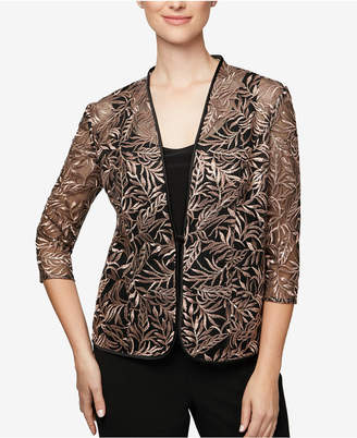 Alex Evenings Embroidered 3/4-Sleeve Jacket & Shell