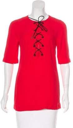 Sonia Rykiel Silk Lace Up Top