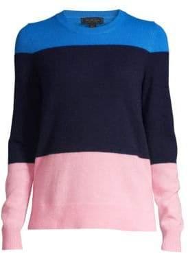 Saks Fifth Avenue Women's COLLECTION Color Block Cashmere Sweater - Navy Dusk - Size XL