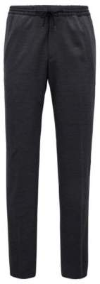 BOSS Hugo Pants in a virgin-wool elastic waist 32R Dark Grey