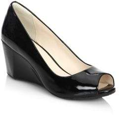 Cole Haan Sadie OT Patent Leather Peep Toe Wedge Pumps