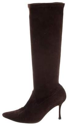 Manolo Blahnik Pointed-Toe Suede Boots