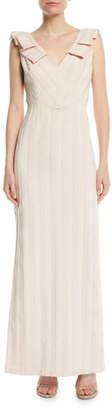 Aidan Mattox V-Neck Column Gown w/ Pleat Detail