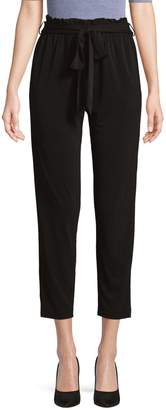 BCBGeneration Slim-Fit Paper Bag-Waist Cropped Pants