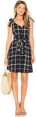 J.O.A. Tie Shoulder Plaid Dress in Navy $95 thestylecure.com