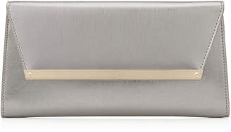 Jimmy Choo MARGOT Vintage Silver Etched Metallic Spazzolato Leather Accessory Clutch Bag