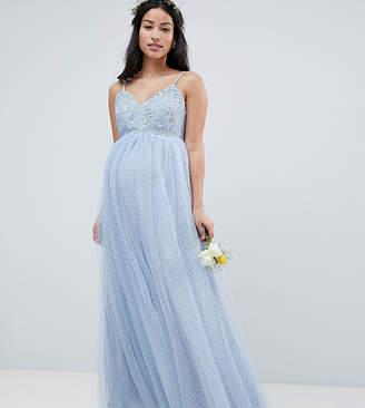 Asos Design Maternity Bridesmaid Lace And Dobby Cami Bodice Maxi Dress