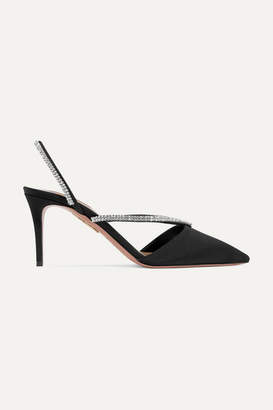 Aquazzura Eden 75 Crystal-embellished Faille Slingback Pumps - Black