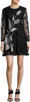 Sachin + Babi Avant Long-Sleeve Floral Lace Cocktail Dress, Jet