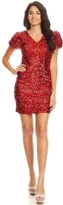 c427b17269 Anna-Kaci Womens Sexy Short Sleeve Sequin Bodycon Mini Cocktail Party Club  Dress