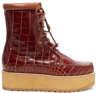 Gabriela Hearst David Crocodile Effect Leather Flatform Boots - Womens - Tan
