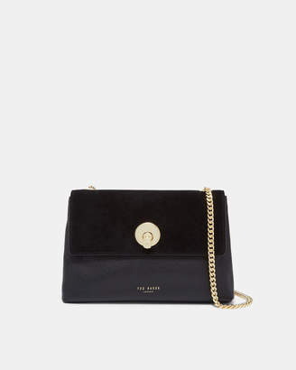 Ted Baker SORIKAI Circle lock suede and leather small cross body bag