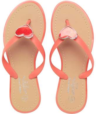 Board Angels Junior Girls Glitter Heart Toe Post Sandals Coral