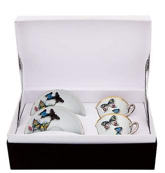 Christian Lacroix by Vista Alegre Set of Two Butterfly Parade Porcelain Coffee Cups And Saucers