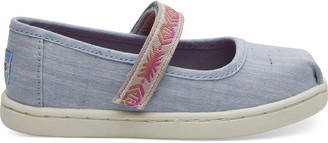 Light Bliss Blue Speckled Chambray Global Webbing Tiny TOMS Mary Jane Flats