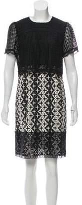Anna Sui Lace Embroidered Mini Dress