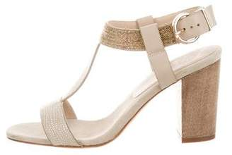 Lola Cruz Embellished T-Strap Sandals