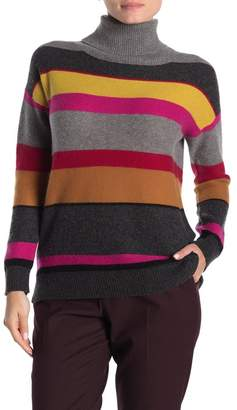 InCashmere In Cashmere Striped Turtleneck Cashmere Sweater