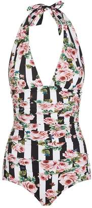 Dolce & Gabbana Stripe Floral Plunge Swimsuit