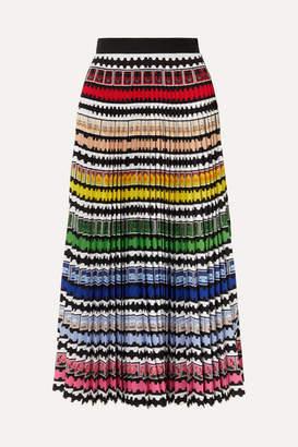 Mary Katrantzou Uni Pleated Striped Crepe De Chine Midi Skirt - Red
