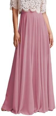 Omleas Omelas Women Long Floor Length Chiffon High Waist Skirt Maxi Bridesmaid Pary Dress (, XXL)