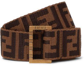 Fendi 3.5cm Brown Leather-Trimmed Logo-Jacquard Webbing Belt