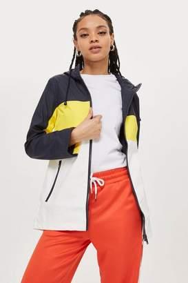 Topshop Colour Block Hooded Rain Mac