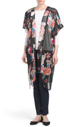 Juniors Sheer Floral Kimono