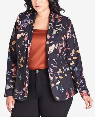 City Chic Plus Size Floral-Print Jacket