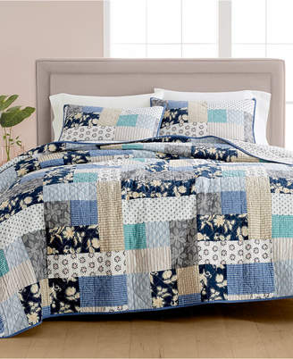 Martha Stewart Collection Contrast Patchwork Cotton Reversible King Quilt, Created for Macy's