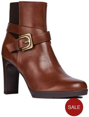 Geox Leather Heeled Ankle Boot - Brown