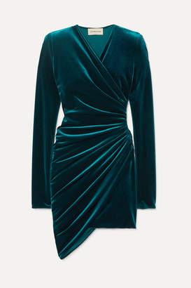 Alexandre Vauthier Ruched Stretch-velvet Mini Dress - Petrol