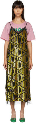 Gucci Black Sequin GG Lingerie Dress