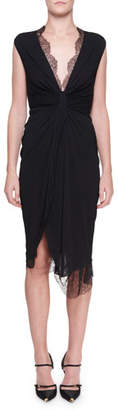 Tom Ford Lace-Trim Knotted-Front Jersey Dress