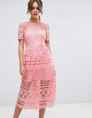 Boohoo Corded Lace Paneled Skater Dress $62 thestylecure.com