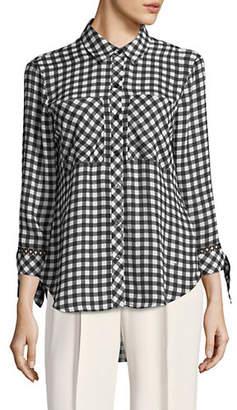 Isaac Mizrahi IMNYC Gingham Tie Cuff Button Up Tunic Shirt With Pockets