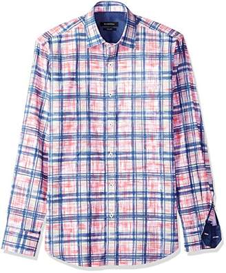 Bugatchi Men's Tailored Fit Printed Paint Stroke Checks Point Collar Shirt