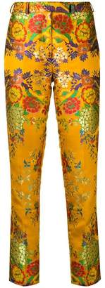 Etro embroidered brocade slim-fit trousers