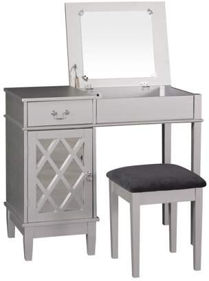 Linon Lattice Bedroom Vanity Set including Stool and Flip top Mirror, Silver Finish