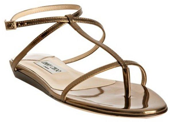 Jimmy Choo gold metallic leather 'Fiona' flat thong sandals