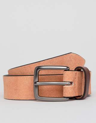 Peter Werth Pink Suede Belt With Contrast Keeper