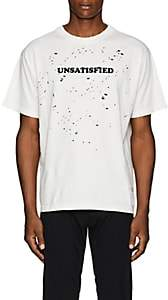 "Satisfy Men's ""Unsatisfied"" Distressed Cotton T-Shirt-White"