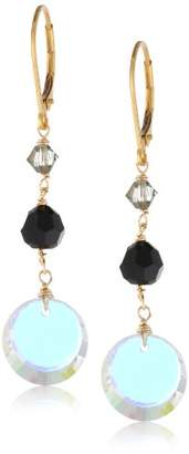 Swarovski Elements Bicone and Disc Gold over Silver Drop Earrings