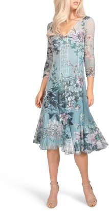 Komarov Floral Chiffon A-Line Dress