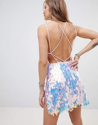 Motel Tie Back Mini Dress With Split In Teardrop Sequin