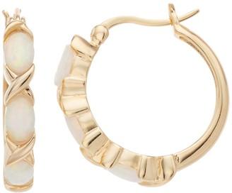 Unbranded 18k Gold Over Silver Lab-Created Opal Hoop Earrings