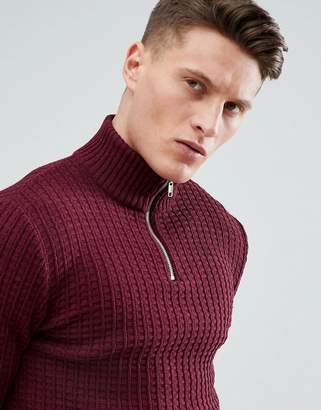 Asos DESIGN muscle fit turtleneck textured sweater with zip in burgundy