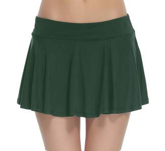HonourSport Women's Club Stretchy Tennis Skorts Pleated Cheerleader Skirt(,M)